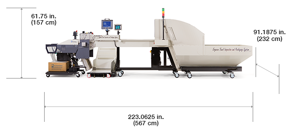Autobag Ergocon Textile Packaging System con dimensiones